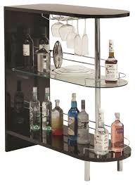 coaster contemporary bar table with glass shelf in black transitional wine and bar arched table top wine cellar furniture