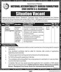 national accountability bureau nab rawalpindi job junior expert national accountability bureau nab rawalpindi job junior expert ii civil engineer