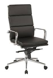 osp furniture high back black bonded leather chair with knee tilt control and chrome arms black and chrome furniture