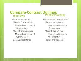 compare  contrast expository essay point by point flip flop  compare contrast outlines block style topic sentence subject major a characteristic minors