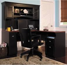 interesting black colored chair with art deco desk computer
