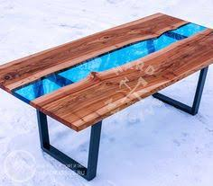 <b>Table</b> in the <b>River</b> style - wooden slabs and blue epoxy (с ...
