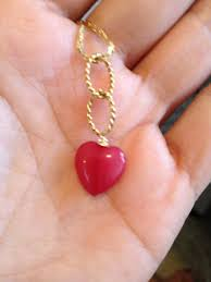 Smooth <b>Red Ruby</b> Gold Pendant, Gold jewelry, <b>True</b> Love, <b>Romantic</b> ...