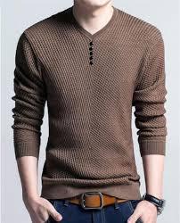 Men's <b>V</b>-<b>Neck Long Sleeve</b> Solid Color Pullover