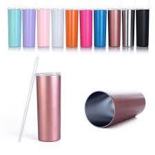 <b>20oz</b> Skinny Stainless Steel Tumbler <b>Straight</b> Cup Wall Water Bottle ...