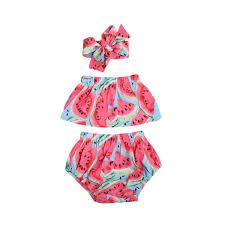 Sweet <b>Baby Girls</b> watermelon Set Off Shoulder Romper Tops+ ...