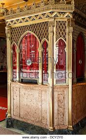 an old ornate box office with gold plate and red curtains stock image art deco box office loew