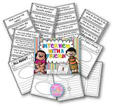teaching love and laughter first grade interviews this second pack allows you to choose the questions the children ask each other and comes 96 different questions and 6 different writing templates