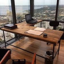 office desk in l shape made with with pipe legs by urbanwoodgoods build rustic office desk