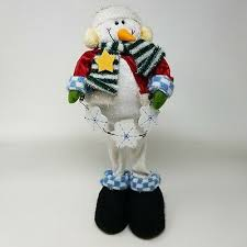 45 cm Standing Plush <b>Snowman Christmas Decoration</b> with broom ...