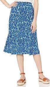 Kasper <b>Women's</b> Summer <b>Leaves Printed</b> Flowy <b>Knit</b> Skirt at ...
