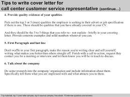 Call center customer service representative cover letter SlideShare        Tips to write cover letter for call center customer