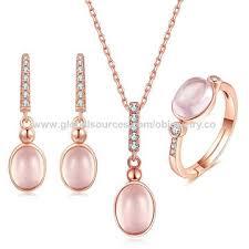 Top quality 925 Sterling silver <b>Gemstone Rose</b> Quartz <b>jewelry</b> sets ...