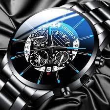 Fashion <b>Men</b> Stainless Steel <b>Watch</b> Luxury Calendar Quartz Wrist ...