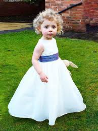 A-Line <b>Round</b> Neck White Elastic Satin Flower Girl Dress with ...