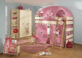 girls room playful bedroom furniture kids: childrens beds girls bedroom desigs in pink color bunk beds with pink curtains and top bed tent