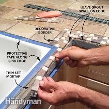 diy tile kitchen countertops: photo  install the decorative trim tiles