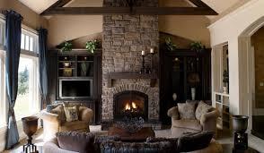 living room interior stone fireplace built furniture living room