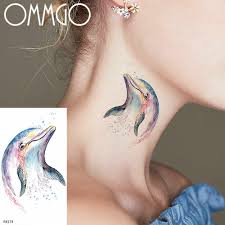 OMMGO <b>Watercolor Dolphin Temporary</b> Tattoos Sticker For Women ...
