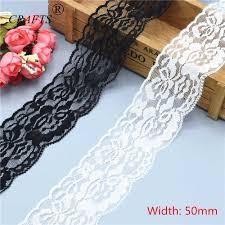 <b>5cm wide</b> beautiful white and black stretch lace ribbon <b>2</b>-10 <b>yards</b> ...