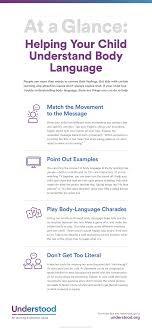 help your child understand body language teach nonverbal graphic of at a glance helping your child understand body language