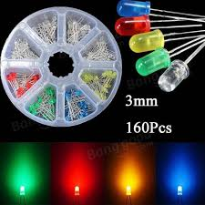 US$3.29 <b>160pcs 3mm LED Diodes</b> Yellow Red Blue Green Light ...