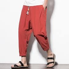 Mens <b>Vintage Cotton Linen</b> Solid Color Loose Fit Casual Harem <b>Pants</b>