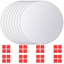 <b>8 pcs Mirror Titles</b> Round Glass -