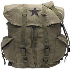 Canvas Backpack - Vintage Rucksack with Star Detail ... - Amazon.com