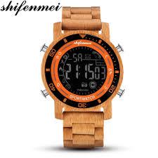 <b>Shifenmei</b> Natural <b>Wooden Men</b> Watches <b>Mens</b> LED Digital ...