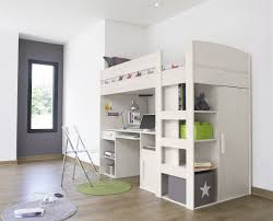 l incredible white kids bedroom design for small spaces displaying beige finish wooden loft beds with computer desk underneath and stairs as well as cheap space saving furniture