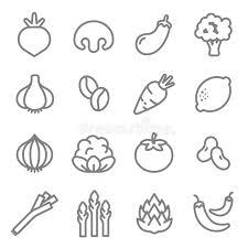 Ингредиенты овоща выравнивают набор вектора <b>значка</b> ...