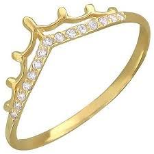 Эстет <b>Кольцо Корона с фианитами</b> из желтого золота 01К137379
