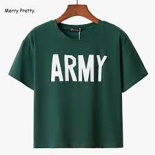<b>Merry Pretty Women</b> Tshirt 2018 Summer Style Army Green T Shirts ...