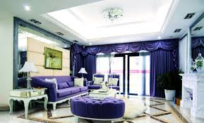 Purple Living Room Curtains Purple Curtains Rendering In Modern Dining Room Interior Design