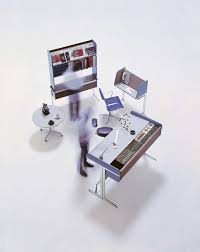 action office 1 1964 with roll top high desk perch stool a separate telephone table and freestanding shelves action office desk george