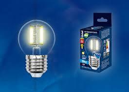 <b>Лампа</b> светодиодная <b>Uniel LED</b>-<b>G45</b>-6W/WW/E27/CL PLS02WH ...