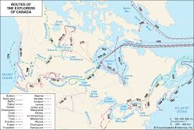 Canada  routes of exploration    Kids Encyclopedia   Children     s     Map Still The profits to be had in fur trading and the search for