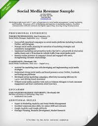 resume example social media social media marketing resume sample