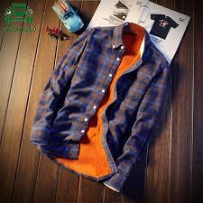 2018 Shirt Men Plaid Flannel Shirts <b>Mens</b> Casual <b>Autumn Winter</b> ...