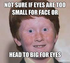 Not sure if eyes are too small for face or Head to big for eyes ... via Relatably.com