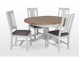 expandable dining table ka ta: grey oak extendable round dining table and four chairs set georgia ez living furniture