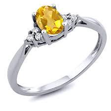 14K White Gold Yellow Citrine and Diamond Women's ... - Amazon.com