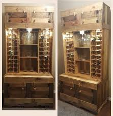 DIY Rustic Wine And Liquor Cabinet With Recessed Lighting Handcrafted From Pallet Wood Repurposed