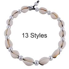 Cowrie Puka Shell Choker Necklace For Women Boho <b>Shell Pearl</b> ...