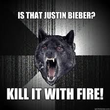 Is that Justin Bieber? KILL IT WITH FIRE! - Insanity Wolf - quickmeme via Relatably.com