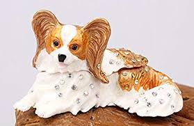 Papillon Dog Bejeweled Trinket Box Handmade ... - Amazon.com