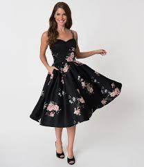 Unique <b>Vintage</b> 1940s Black Floral <b>Brushed</b> Cotton Luna Swing ...