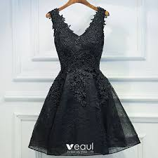 Chic / Beautiful <b>Black Formal</b> Dresses 2017 <b>A-Line</b> / <b>Princess</b> Lace ...