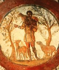 a copy of the picture of Jesus as the Good Shepherd from the early church